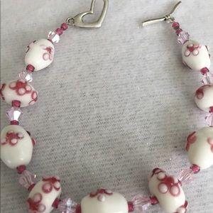 Jewelry - Pink/ white Floral Lampwork Bracelet